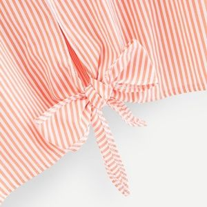 Tops - Striped V-Neckline Knot Hem Top - NWOT